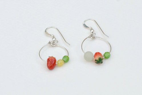 Strawberry silver earrings