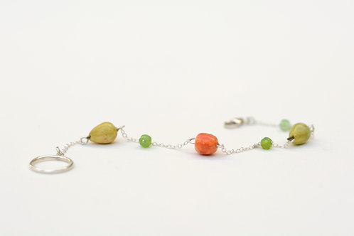 Apple and pear silver cluster necklace bracelet