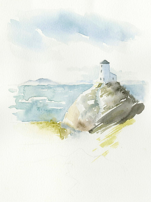 The Lighthouse. Watercolor Print.