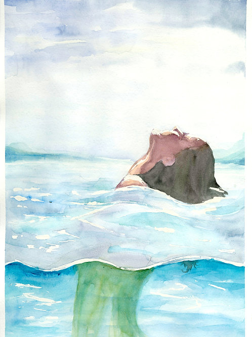Woman in the sea. Watercolor Print.