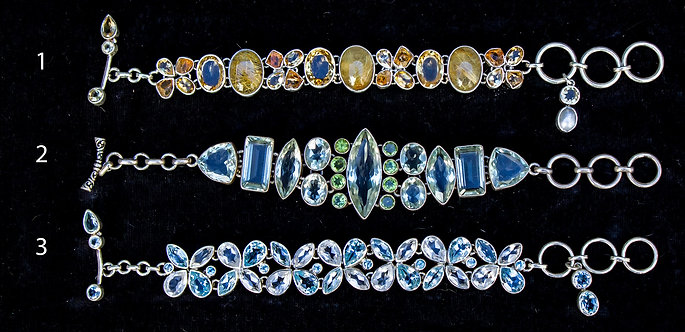 Silver and Gem Bracelets