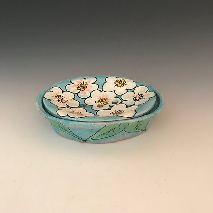 flowered soap dish