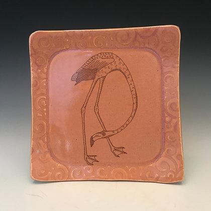 square flamingo plate