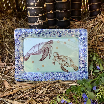 turtle  tray in green and blue