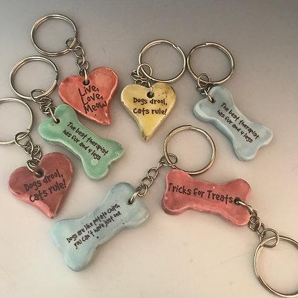 cat heart key rings