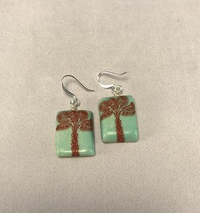 Aqua Palm Tree Earrings