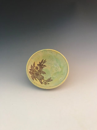 hibiscus bowl in yellow & green
