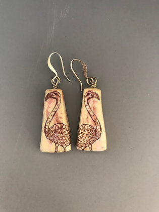 flamingo earrings in white and pink
