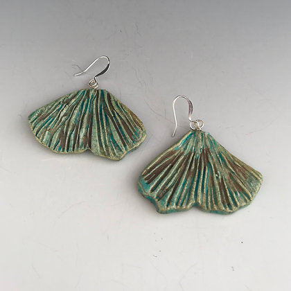 raku ginko turquoise earrings