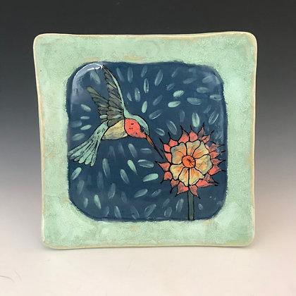 painted hummingbird plate