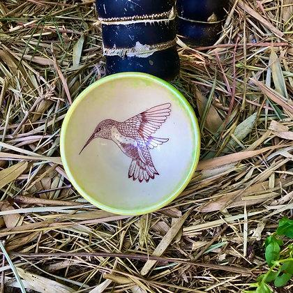 hummingbird bowl in yellow and green
