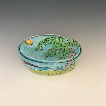painted palm trees soapdish