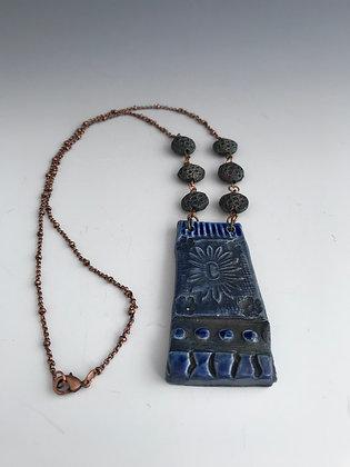 blue sun raku necklace