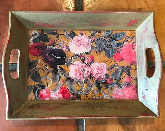 roses & snakes tray in gold & pink