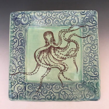 large square octopus  plate