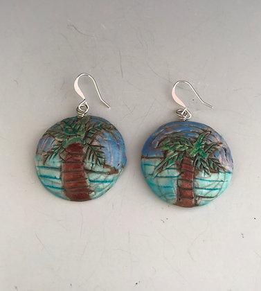 raku palm tree earrings