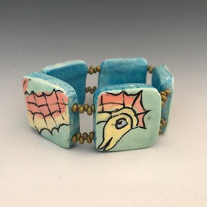 painted sea horse bracelet