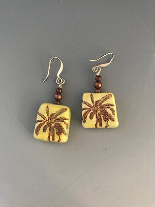 square banana palm earrings