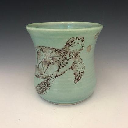 large turtle mug in aqua