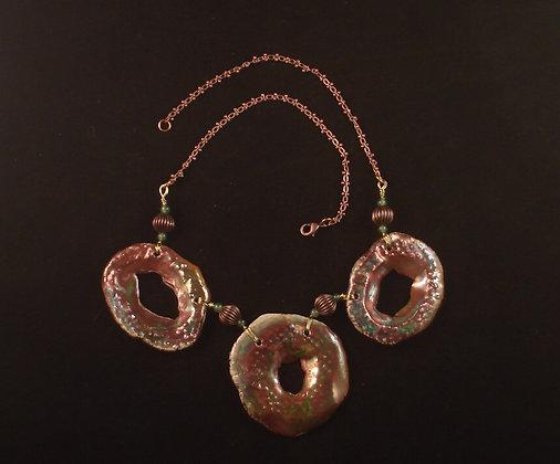 Raku triad & copper beads
