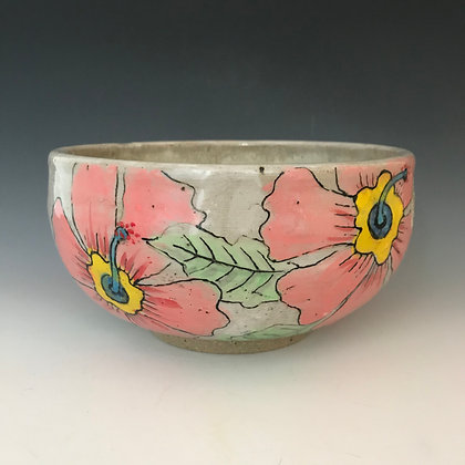 painted hibiscus bowl