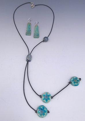bolo necklace in aqua set