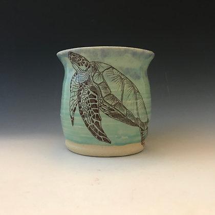 aqua turtle mug