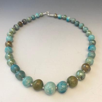 brilliant turquoise & green raku necklace