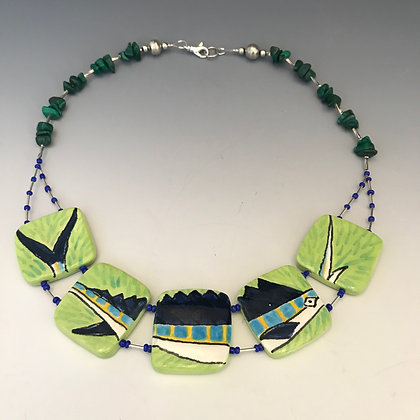 sailfish necklace with malachite