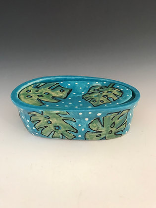 painted leaves soap dish