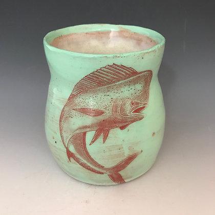 jumping dolphin mug in aqua