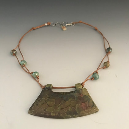 medallion necklace in green& copper