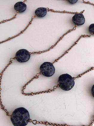 raku deep blue strand necklace