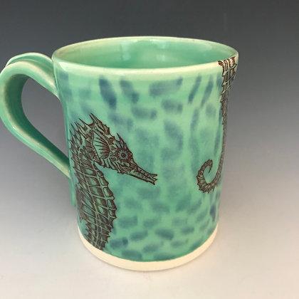 sea horse mug in aqua & blue