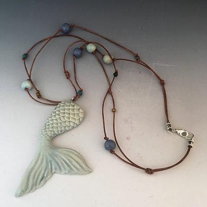 aqua mermaid tail necklace