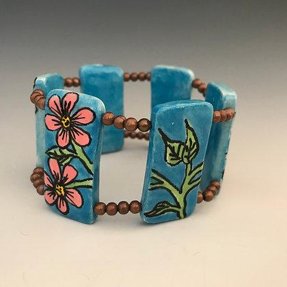 hand painted pink floral bracelet