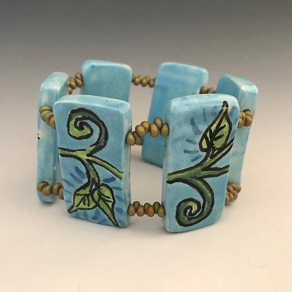 hand painted turquoise vines bracelet