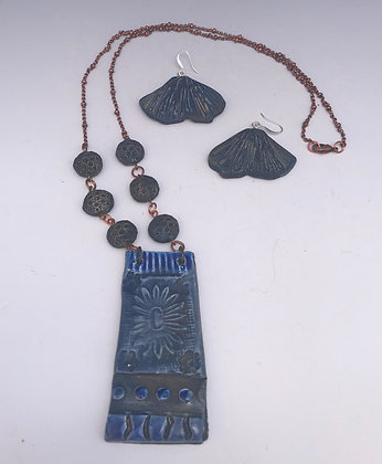 blue raku medallion necklace set