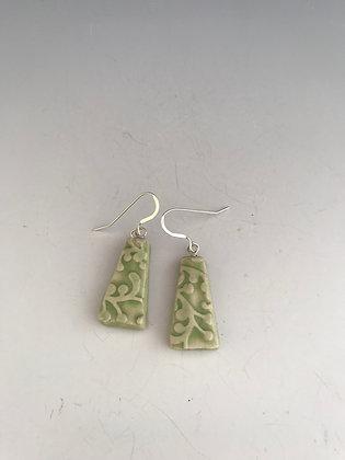 embossed lime earrings