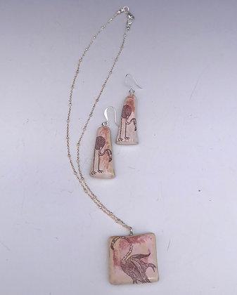 flamingo medallion necklace set