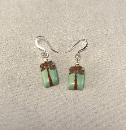 tiny aqua palm tree earrings