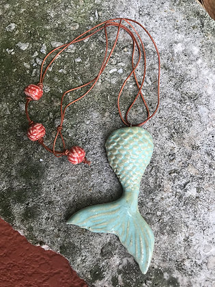 sea-green mermaid tail necklace