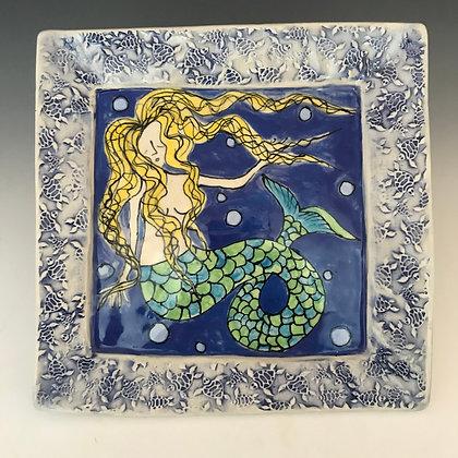 large painted mermaid plate