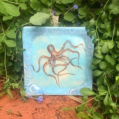 blue octopus plate