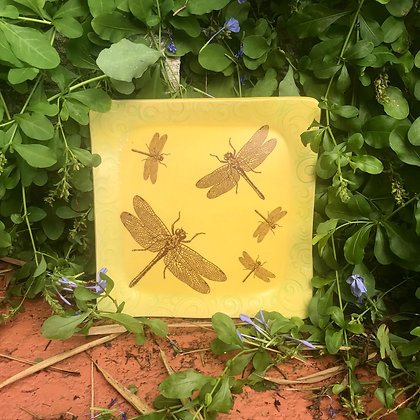 yellow dragonfly plate