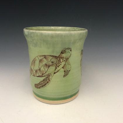 turtles mug in green