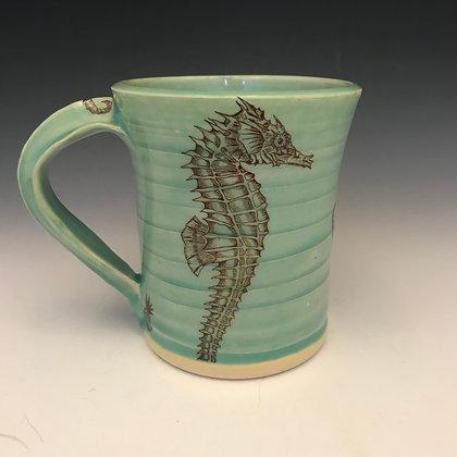 sea horse mug in aqua