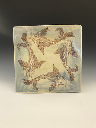 large koi square plate