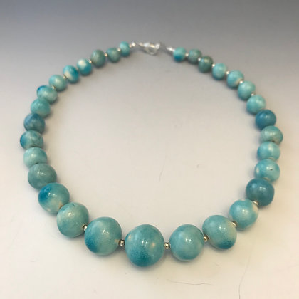 luminous Raku beaded necklace