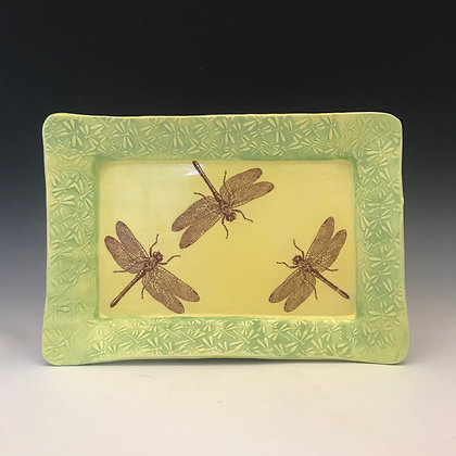 dragonfly tray in yellow & green